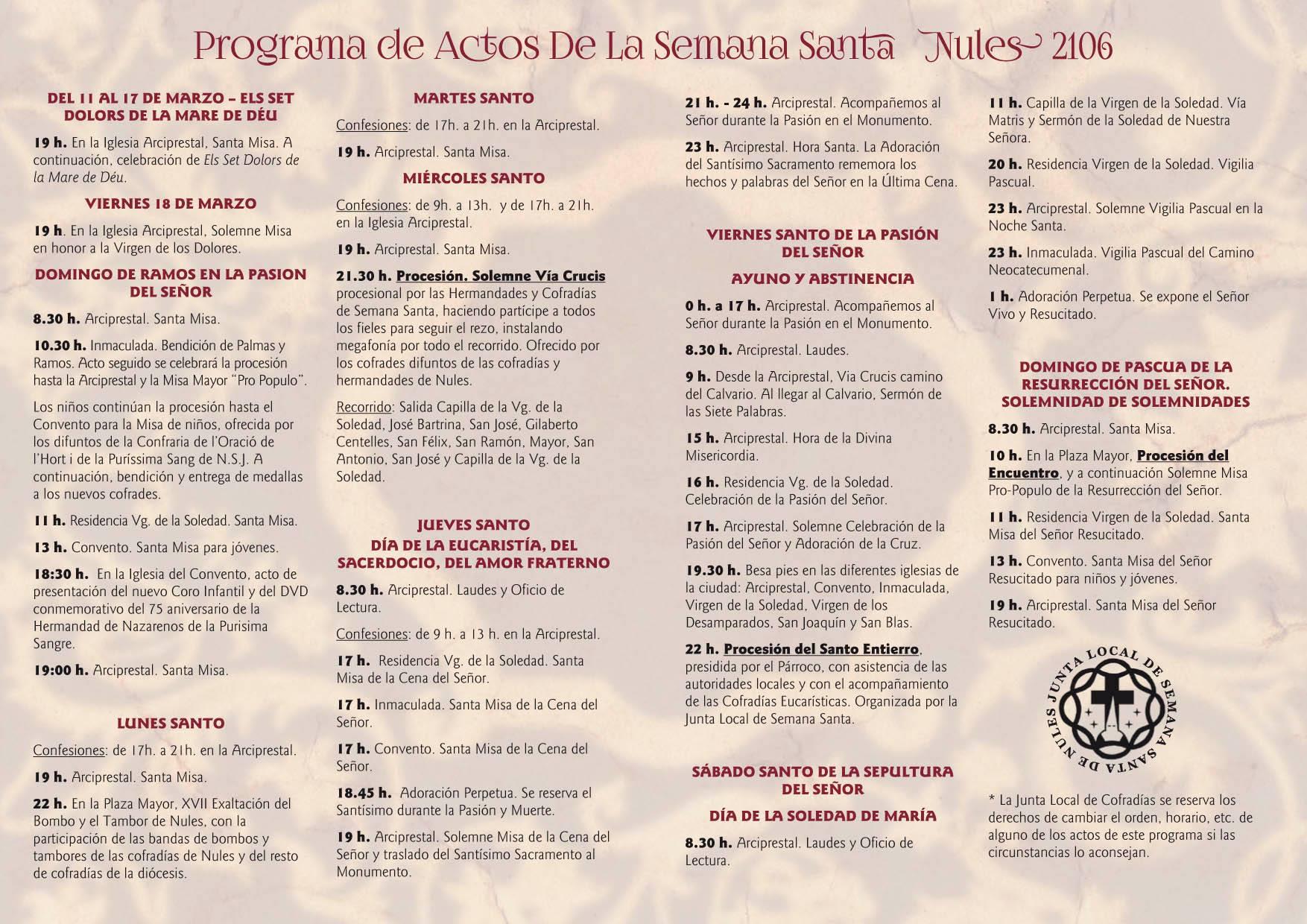 parroquia nules semana santa 2106 actos